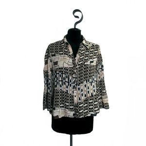Sunny Leigh Petite Crinkle Brown Print Blouse PM